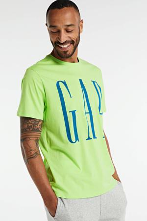T-shirt met tekst groen/blauw