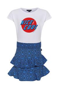 Little Miss Juliette jersey jurk met printopdruk blauw/wit/rood, Blauw/wit/rood