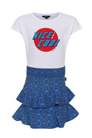 jersey jurk met printopdruk blauw/wit/rood