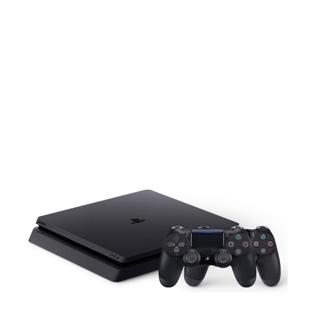 Sony PlayStation 4 Slim 1TB + 2 controllers zwart, Zwart