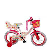 Volare  Ashley 14 inch meisjesfiets, Wit/rood/roze