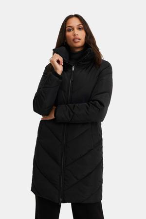 gewatteerde jas black uni