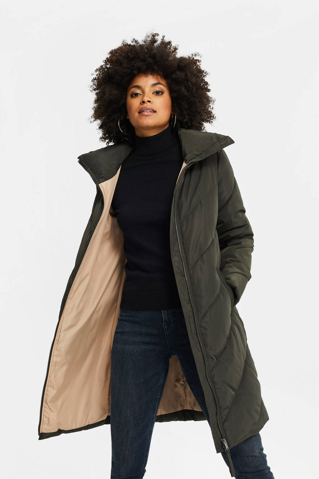 WE Fashion gewatteerde jas donkergroen, Donkergroen