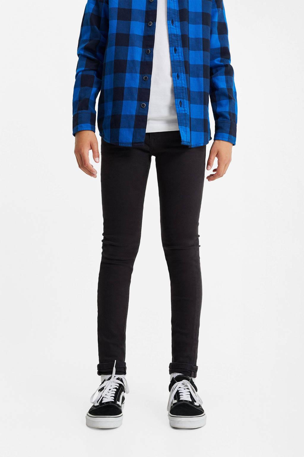 WE Fashion Blue Ridge skinny fit jeans zwart, Zwart