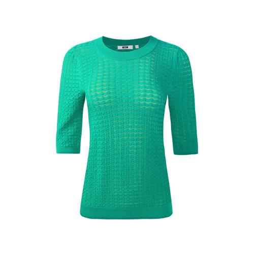 WE Fashion fijngebreide top met borduursels groen