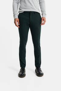 WE Fashion slim fit pantalon donkergroen, Donkergroen