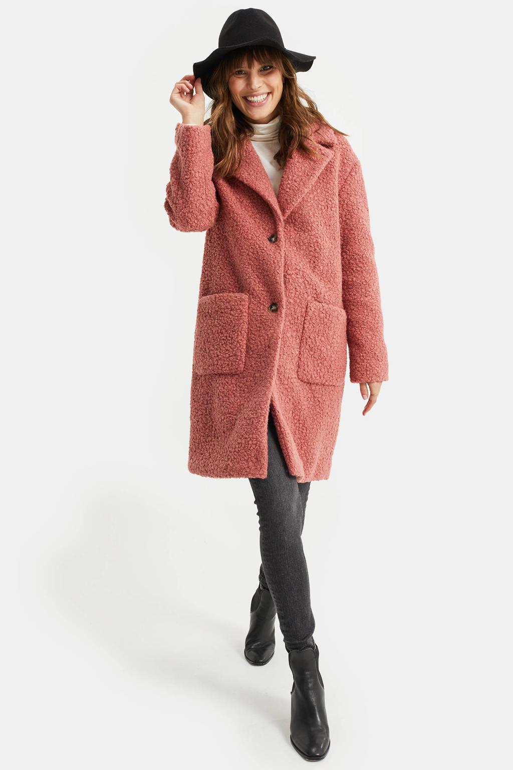 WE Fashion teddy winterjas oudroze, Oudroze