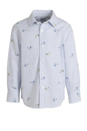 overhemd van biologisch katoen lichtblauw/wit/geel