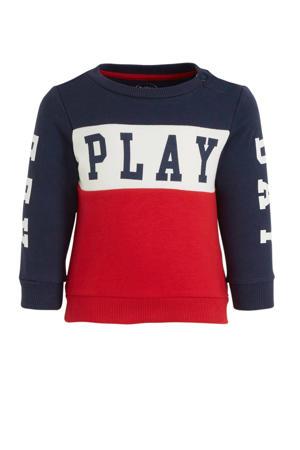sweater van biologisch katoen donkerblauw/rood/ecru