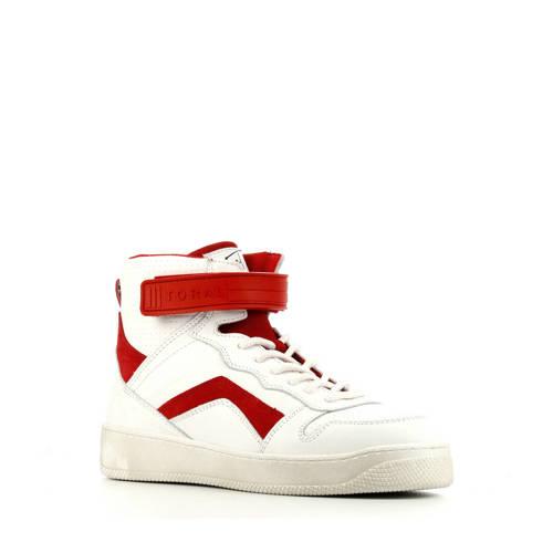 Toral 12407 hoge leren sneakers wit/rood