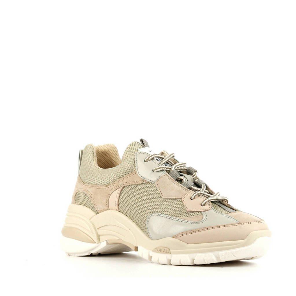 Toral 12400  leren chunky sneakers beige, Beige