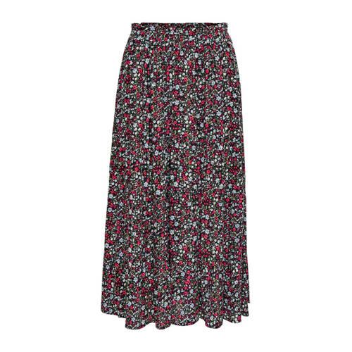 JACQUELINE DE YONG gebloemde rok zwart/rood