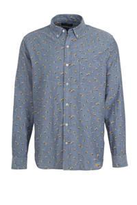 Banana Republic gebloemd slim fit overhemd grijsblauw, Grijsblauw