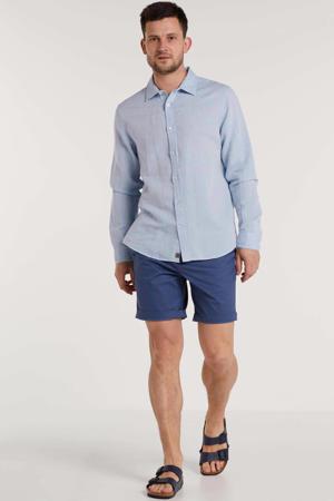linnen slim fit overhemd blauw