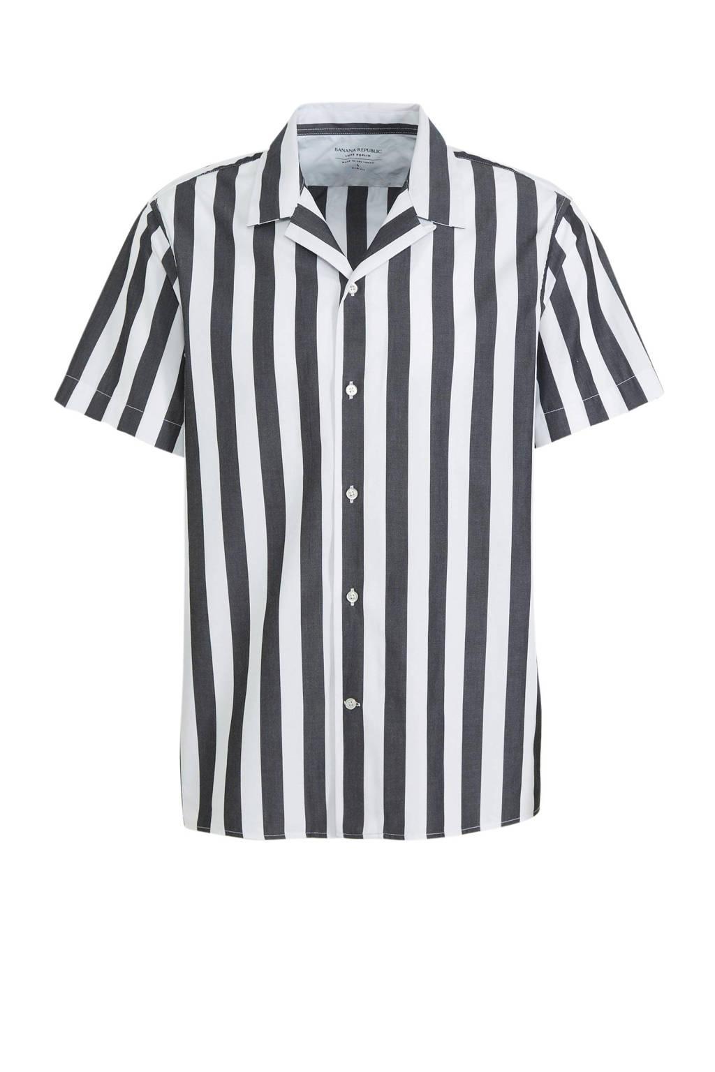 Banana Republic gestreept slim fit overhemd grijs/wit, Grijs/wit