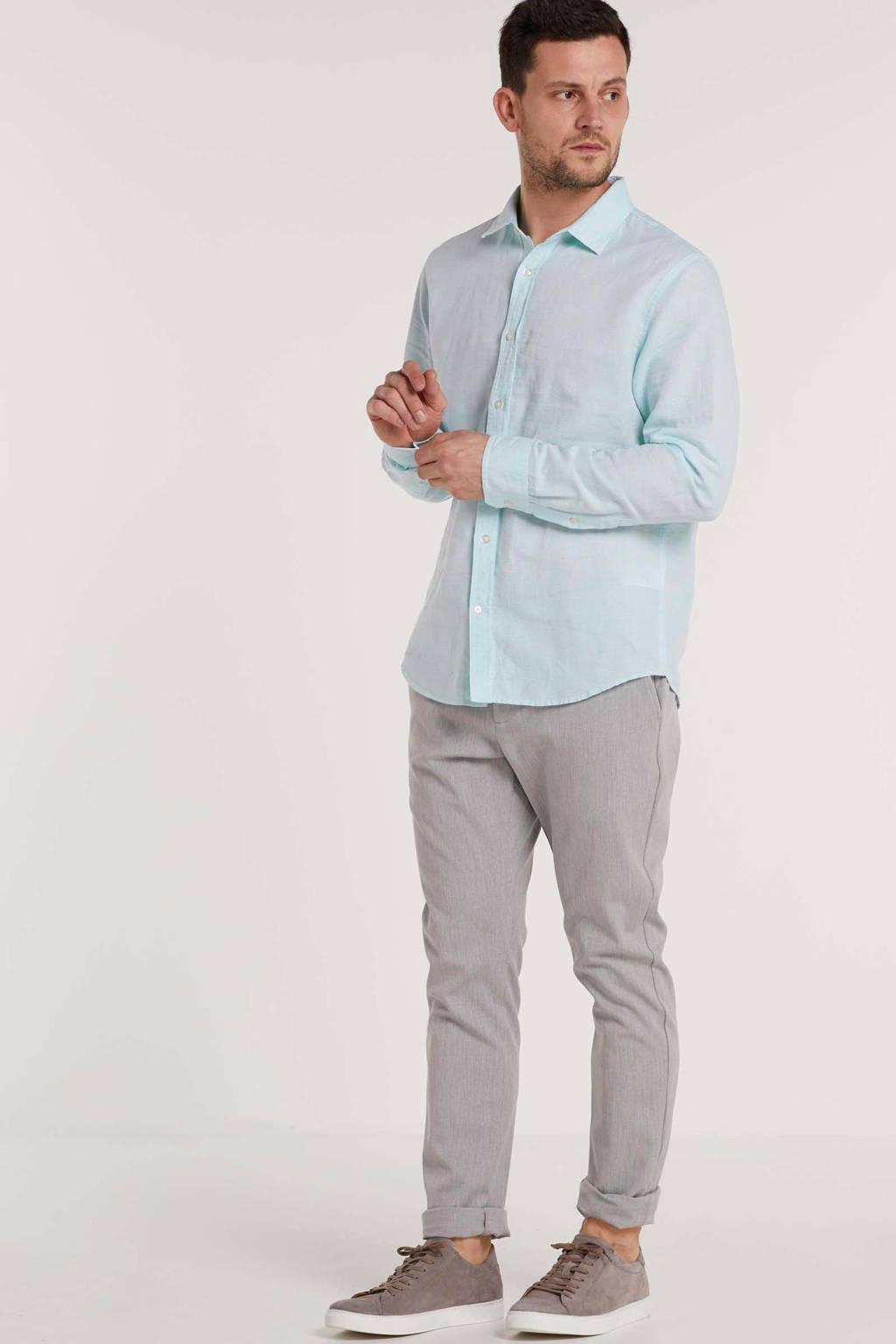 Banana Republic gemêleerd linnen slim fit overhemd lichtblauw, Lichtblauw