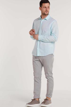 gemêleerd linnen slim fit overhemd lichtblauw