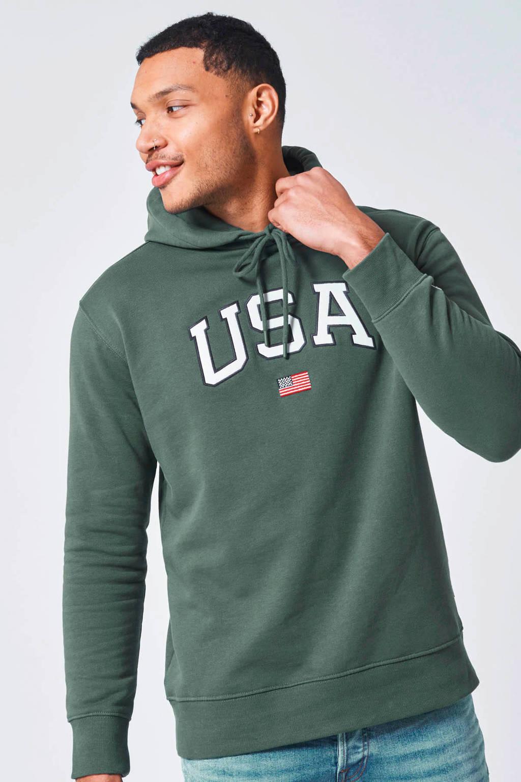 America Today hoodie met logo green, Green