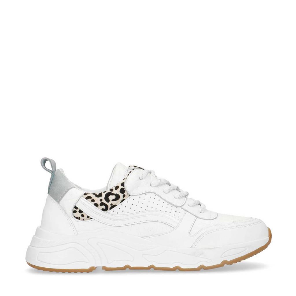 Manfield   leren dad sneakers wit/panterprint, Wit/zilver