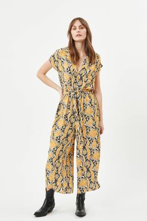 jumpsuit Tivana met slangenprint geel