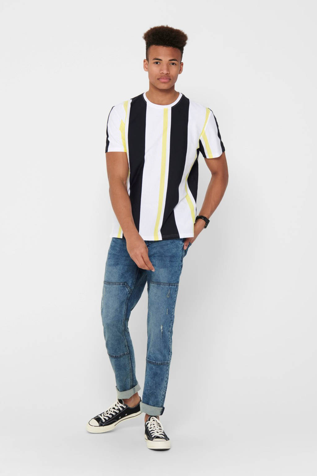 ONLY & SONS gestreept T-shirt limelight, LimeLight