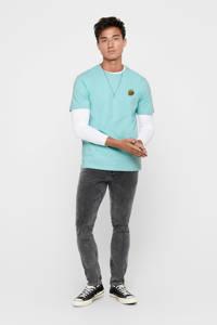 ONLY & SONS T-shirt met printopdruk aqua, Aqua
