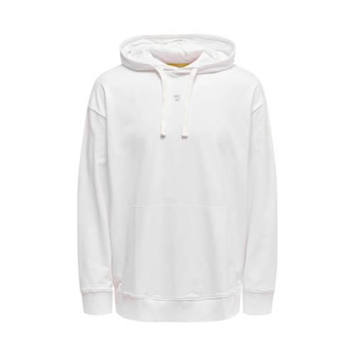 ONLY & SONS hoodie met printopdruk wit