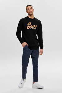 ONLY & SONS regular fit chino met linnen dress blues, Donkerblauw