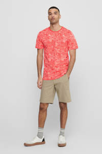ONLY & SONS T-shirt met bladprint hot coral, Hot Coral