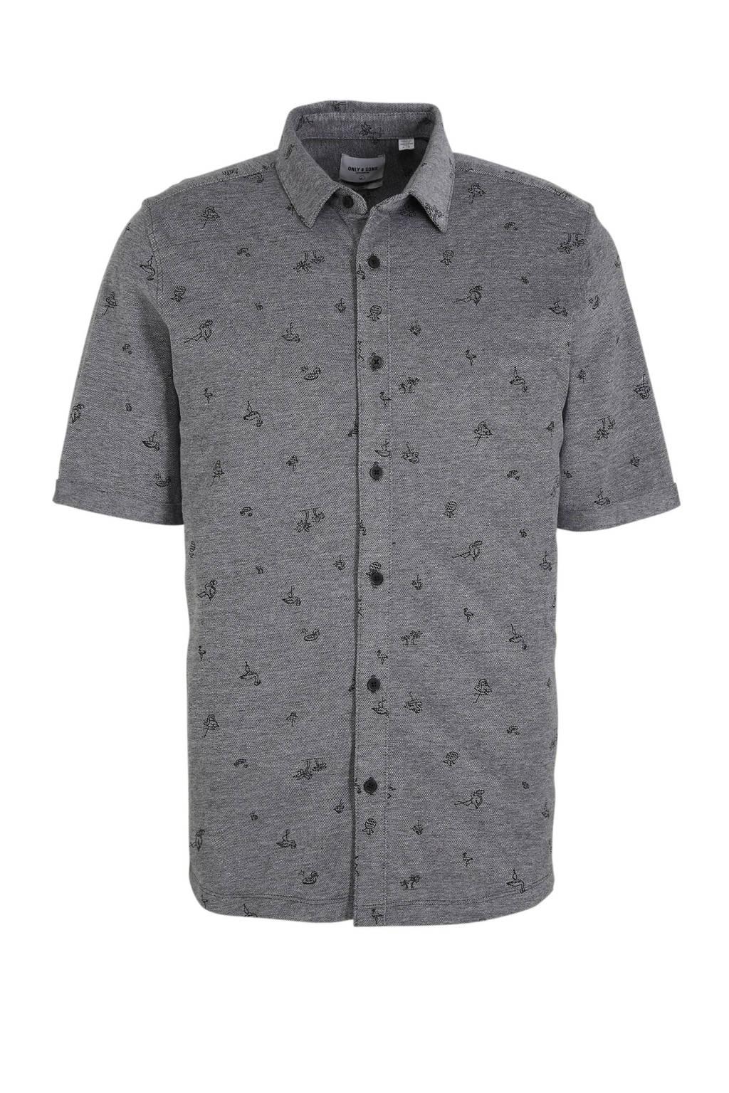 ONLY & SONS slim fit overhemd met all over print black, Black