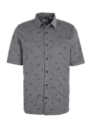 slim fit overhemd met all over print black