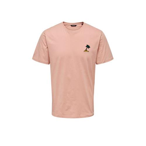 ONLY & SONS T-shirt met logo misty rose