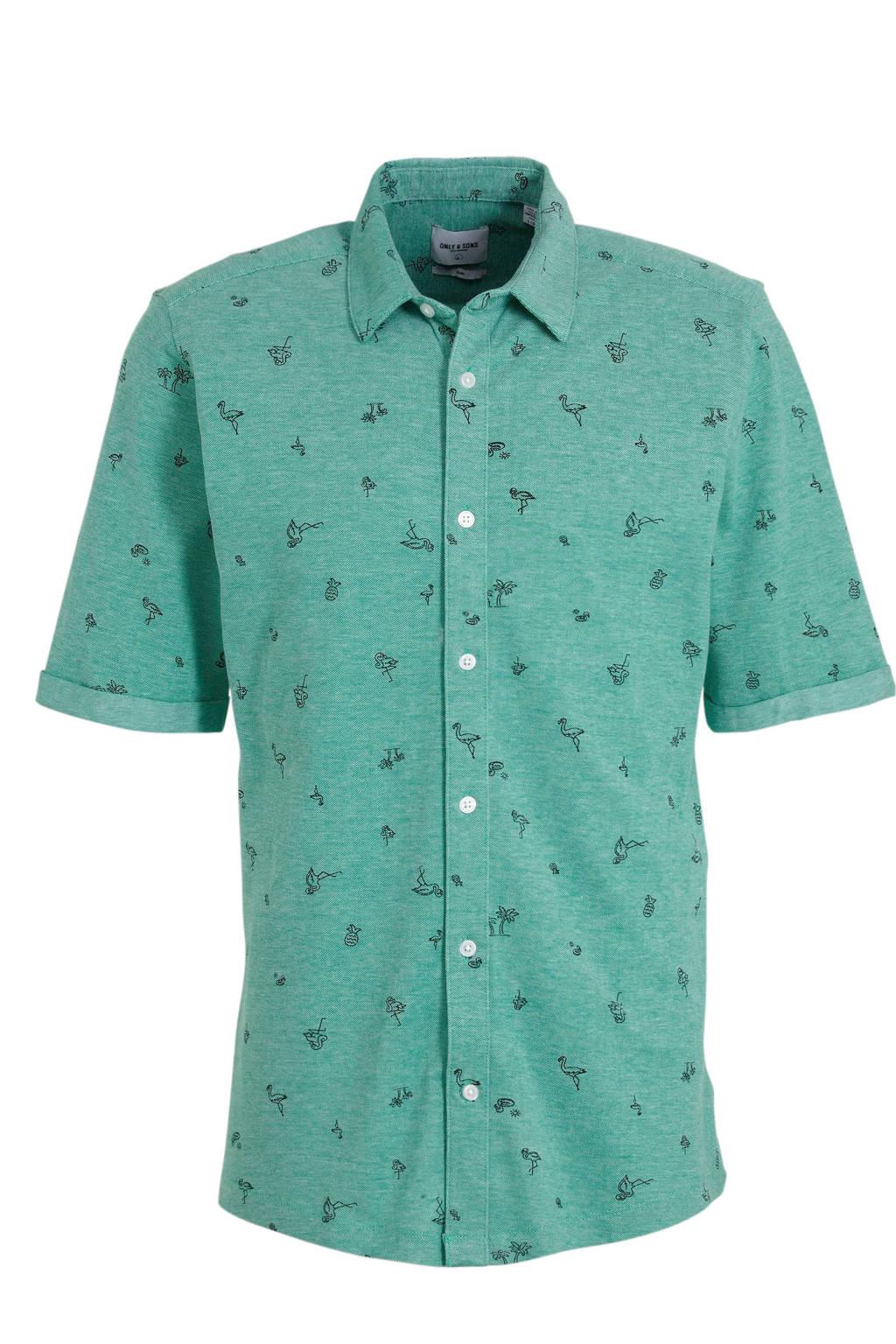ONLY & SONS regular fit overhemd met all over print groen/zwart, Groen/zwart