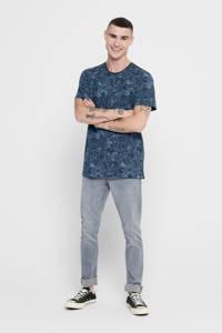 ONLY & SONS T-shirt met bladprint dress blues