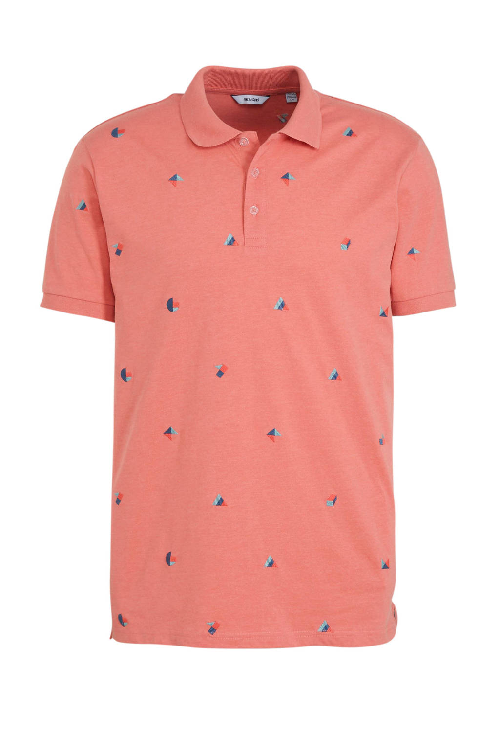 ONLY & SONS slim fit polo met all over print mauveglow, Mauveglow
