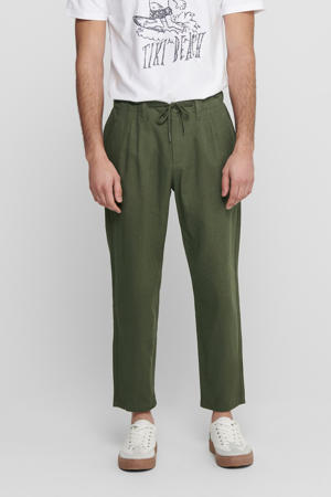 regular fit pantalon met linnen olive night
