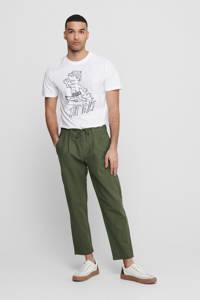 ONLY & SONS regular fit pantalon met linnen olive night, Donkergroen