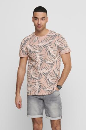 T-shirt met bladprint misty rose