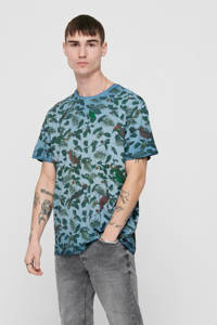 ONLY & SONS T-shirt met bladprint blauw, Blauw