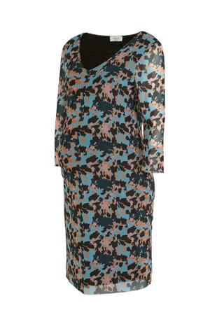zwangerschapsjurk met all over print en mesh blauw/roze
