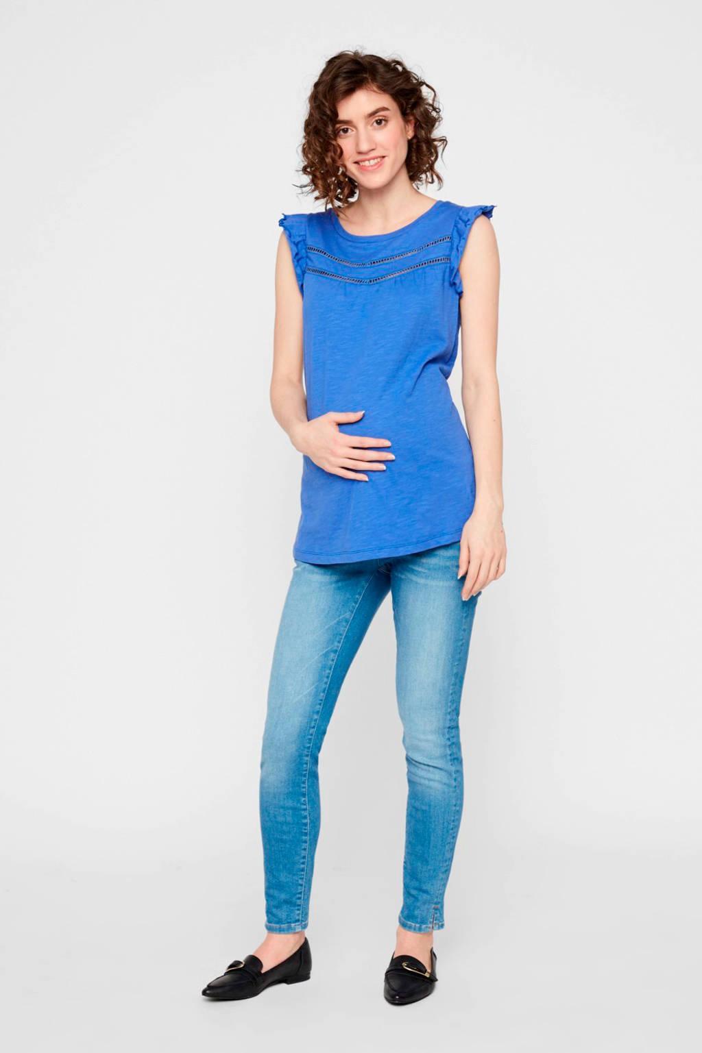 MAMALICIOUS zwangerschapsshirt Siana van biologisch katoen blauw, Blauw
