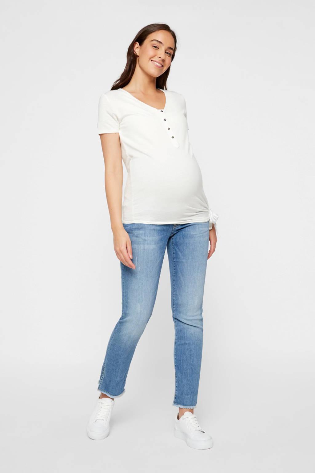 MAMALICIOUS low waist straight fit zwangerschapsjeans Crystal light denim, Light denim