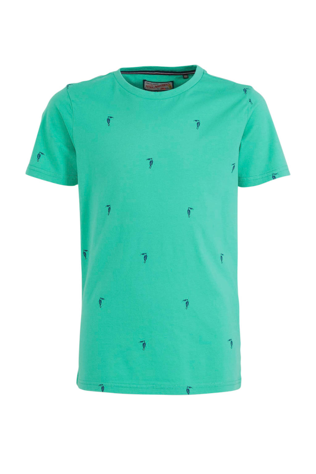 Petrol Industries T-shirt met all over print zeegroen, Zeegroen