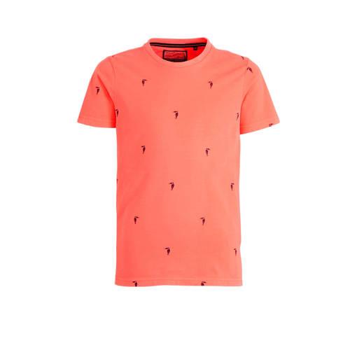 Petrol Industries T-shirt met all over print oranj
