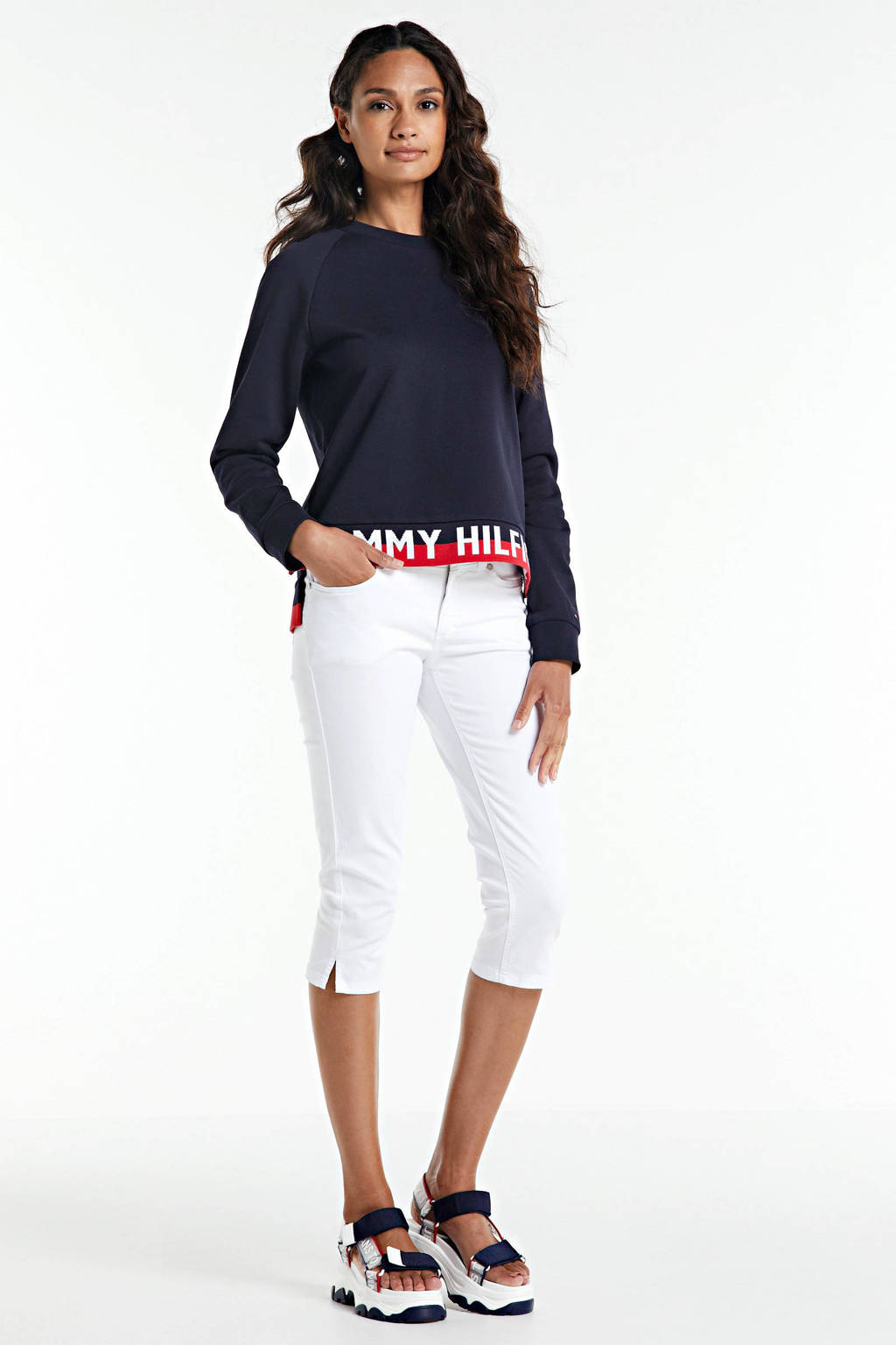 Tommy Hilfiger sweater met contrastbies donkerblauw, Donkerblauw