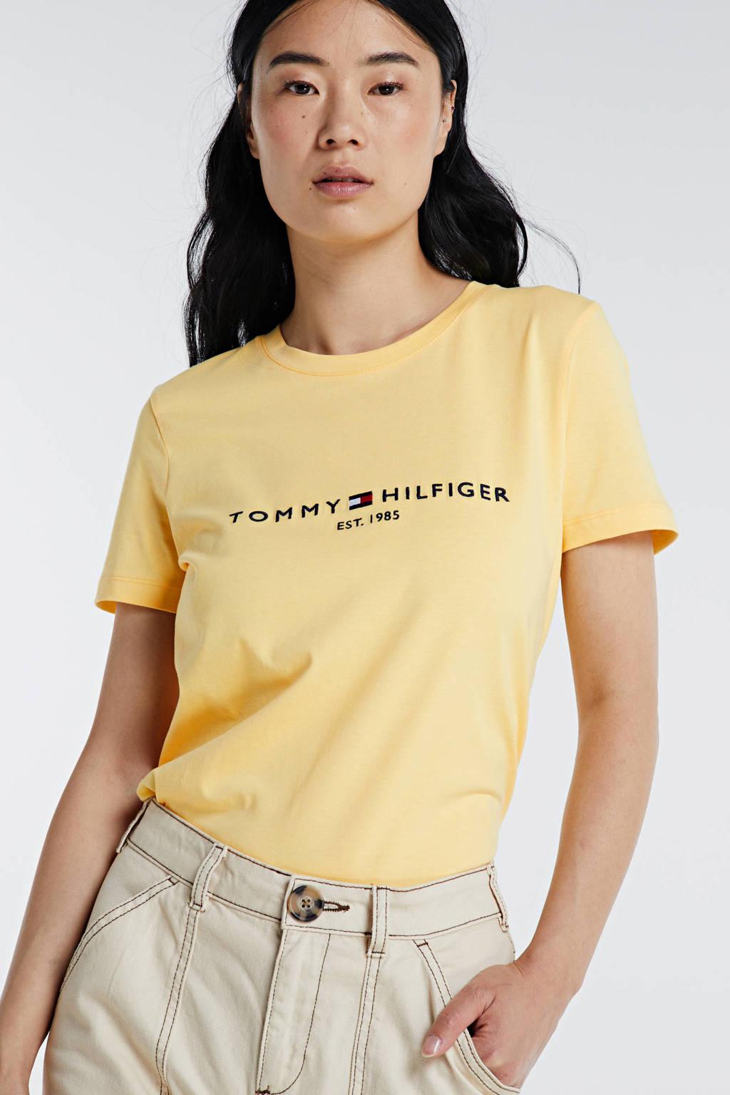 Tommy Hilfiger T-shirt van biologisch katoen geel, Geel