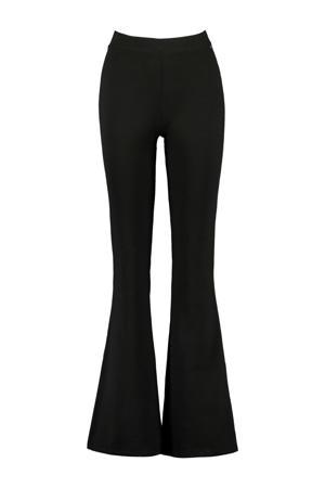 high waist flared broek zwart