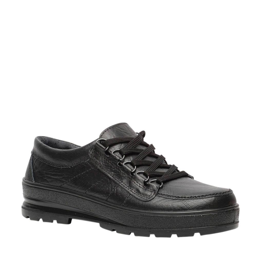 Scapino Natuform  comfort leren veterschoenen zwart, Zwart
