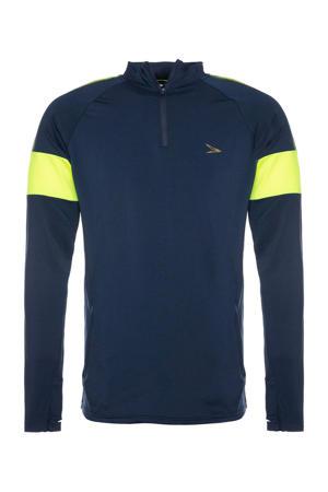 voetbal T-shirt donkerblauw/limegroen