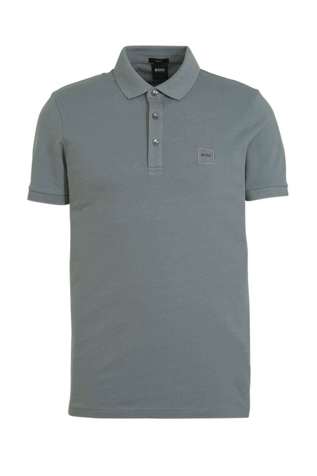BOSS Casual slim fit polo Passenger medium grey